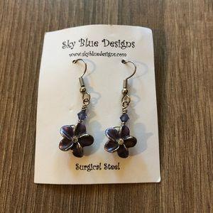 Jewelry - Handcrafted Plumeria Earrings - Sky Blue Designs